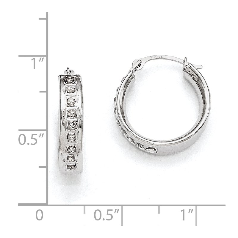 Quality Gold 14k White Gold Diamond Fascination Round Hoop Earrings