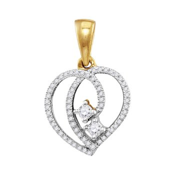 10kt Yellow Gold Womens Round Diamond 2-Stone Hearts Together Heart Pendant 1/6 Cttw
