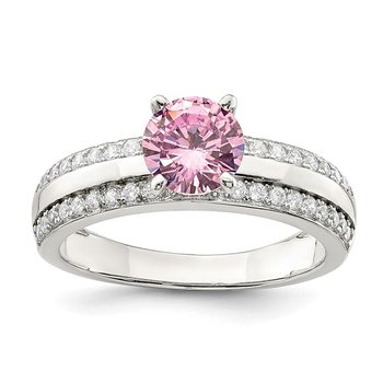 Sterling Silver Pink & Clear CZ Ring