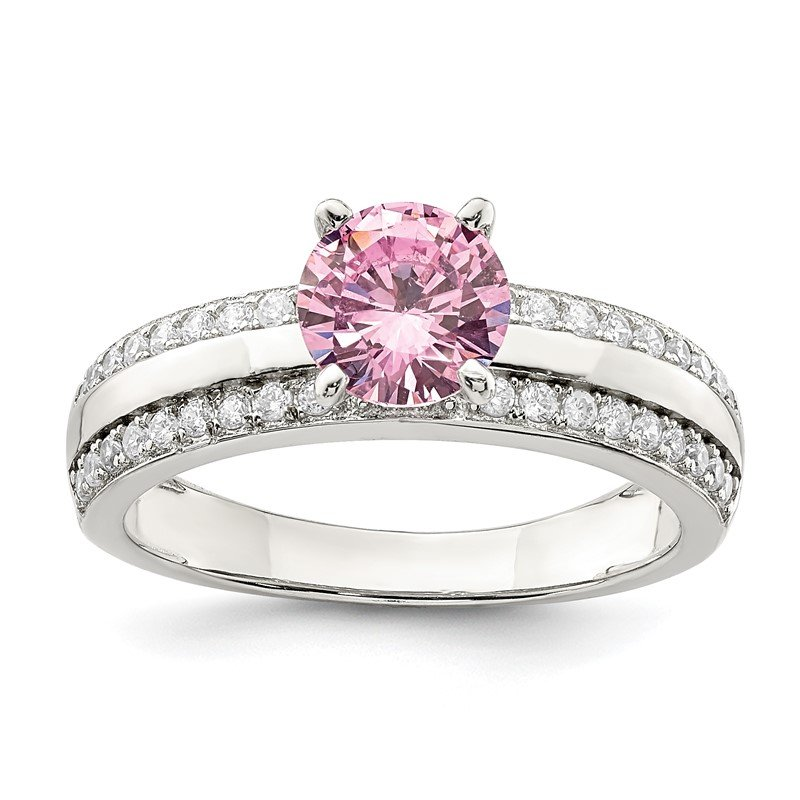 Quality Gold Sterling Silver Pink & Clear CZ Ring