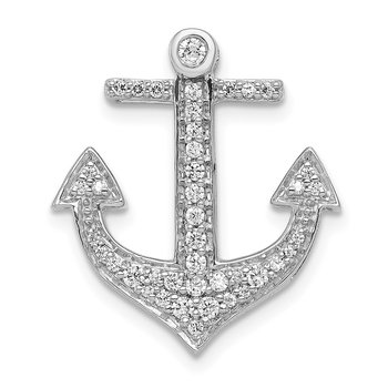 14k White Gold 1/4ct. Diamond Anchor Chain Slide