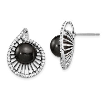 Sterling S Majestik Rh-plated 10-11mm Blk Imitat Shell Pearl CZ Earrings