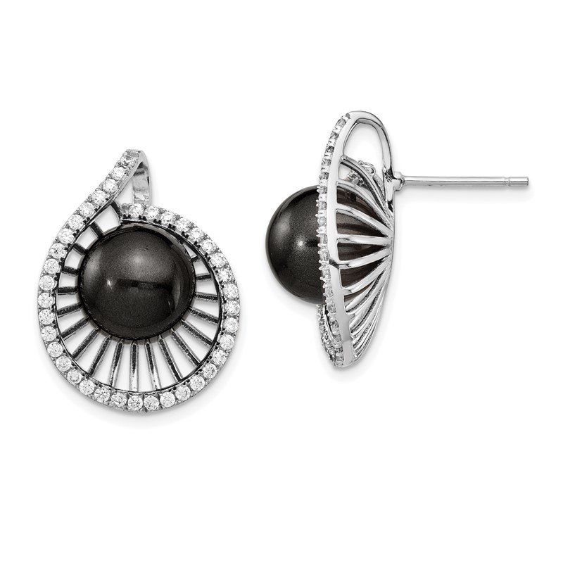 J.F. Kruse Signature Collection Sterling S Majestik Rh-plated 10-11mm Blk Imitat Shell Pearl CZ Earrings