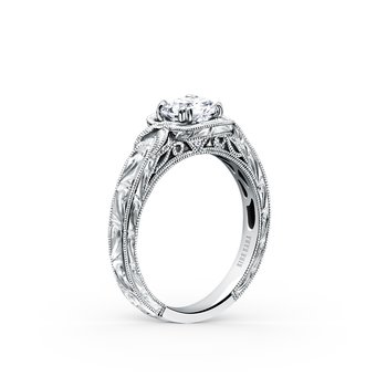 Engraved Halo Diamond Engraved Engagement Ring