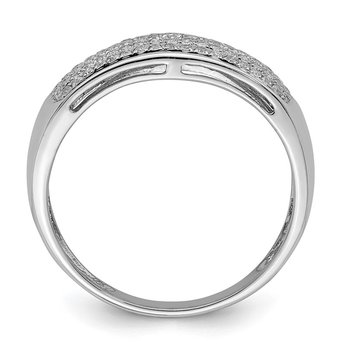 Sterling Silver Rhodium Five Row Diam. Band Ring