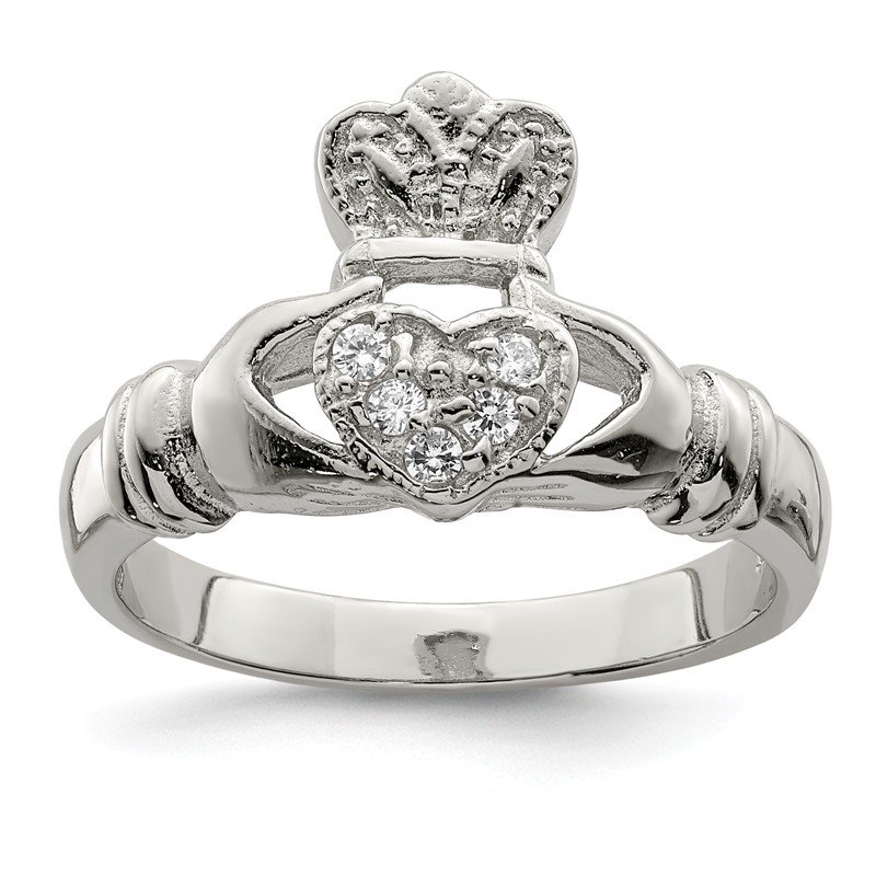 Quality Gold Sterling Silver CZ Claddagh Ring