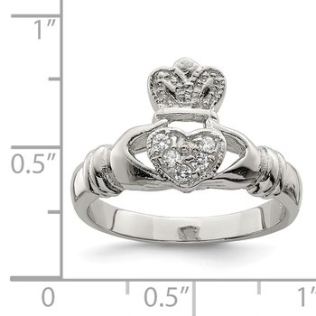 Sterling Silver CZ Claddagh Ring