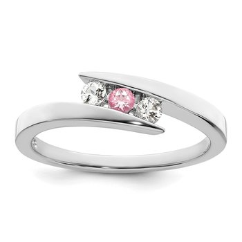 10kw Survivor Clear & Pink Swarovski Topaz Circle of Strength Ring