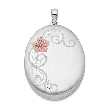 Sterling Silver Rhodium-plated W/ Enamel Flowers 34mm Oval Locket