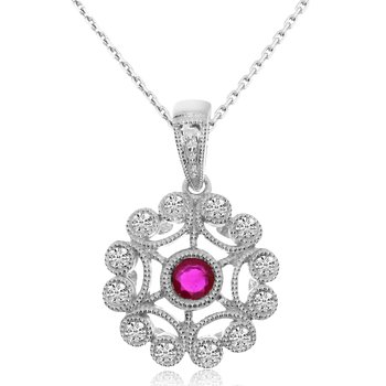 14k White Gold Filigree Ruby and Diamond Pendant