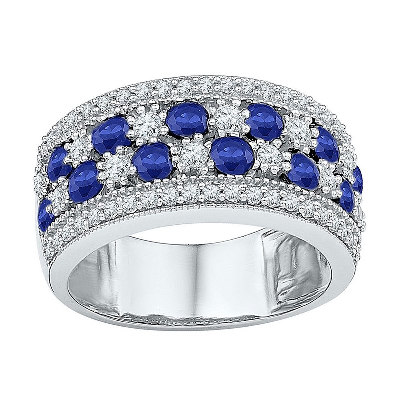 Kingdom Treasures Sterling Silver Womens Round Lab-Created Blue Sapphire Band Ring 2-3/8 Cttw