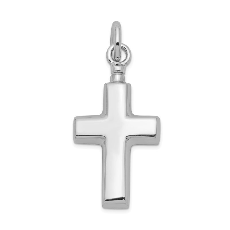 Quality Gold Sterling Silver Rhodium-plated Polished Cross Ash Holder Pendant