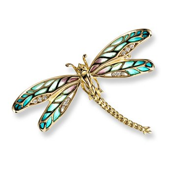 Green Dragonfly Brooch.18K -Diamonds - Plique-a-Jour