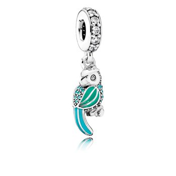 Tropical Parrot Dangle Charm, Mixed Enamels, Teal Clear Cz