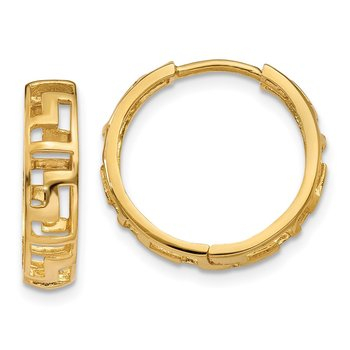14k Greek Key Hinged Hoop Earrings