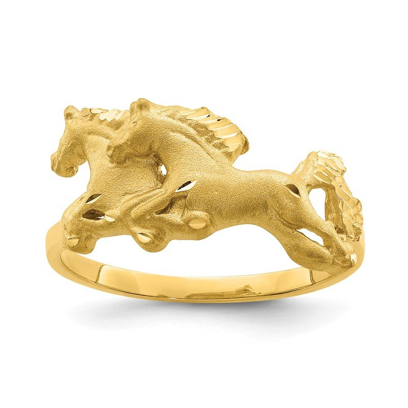Quality Gold 14K Brushed & Polished D/C Horse Ring