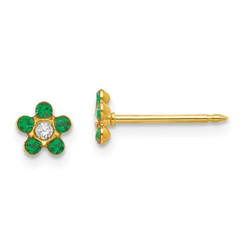 Inverness 14k May Green Crystal Birthstone Flower Earrings