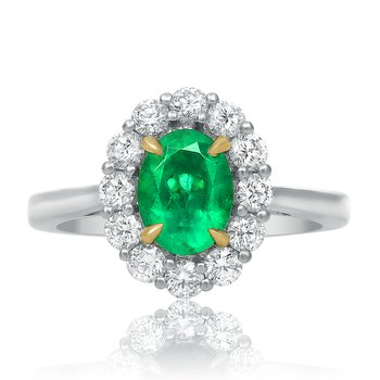 Small Prong Set Emerald Halo Ring