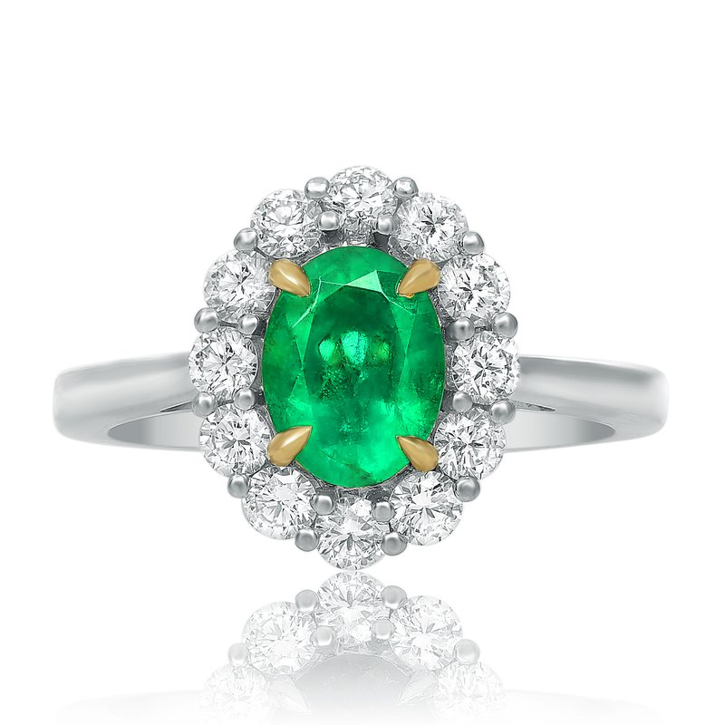 Roman & Jules Small Prong Set Emerald Halo Ring