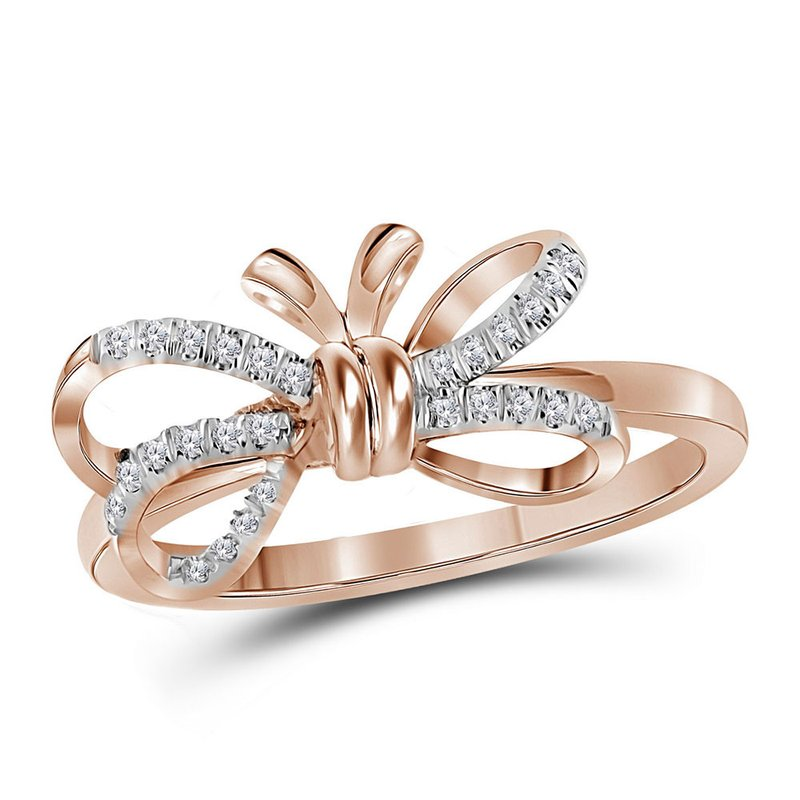 Kingdom Treasures 10kt Rose Gold Womens Round Diamond Ribbon Bow Knot Ring 1/8 Cttw