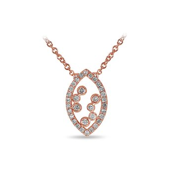 10K RG and diamond Marquise shape necklace with jump ring in split prong and bezel setting