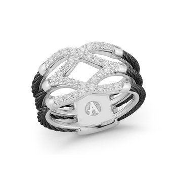 Black Cable Lattice Ring with 18kt White Gold & Diamonds