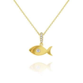14k Gold Fish Necklace with Diamond Accent