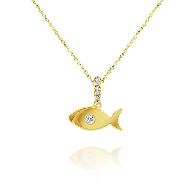 KC Designs 14k Gold Fish Necklace with Diamond Accent