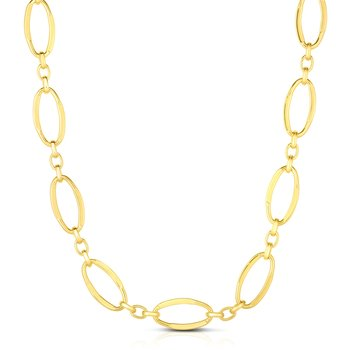 14K Gold Polished Three Plus One Oval Link Chain