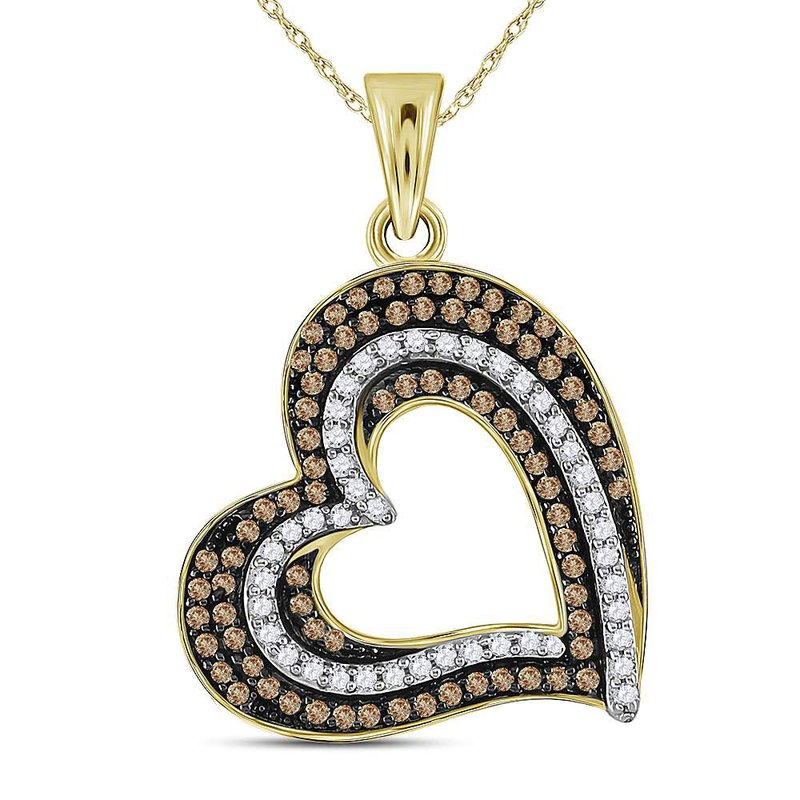 Gold-N-Diamonds, Inc. (Atlanta) 10kt Yellow Gold Womens Round Brown Color Enhanced Diamond Heart Pendant 3/8 Cttw
