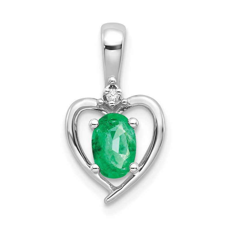 Lester Martin Online Collection 14k White Gold Emerald and Diamond Heart Pendant