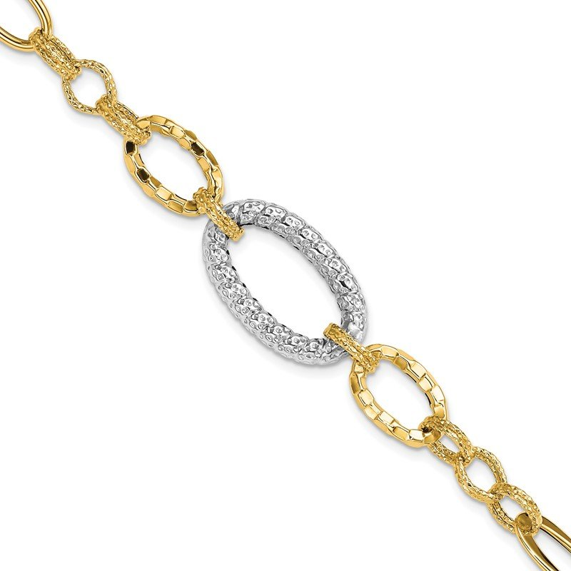 Quality Gold 14k Two-tone Textured Link Bracelet