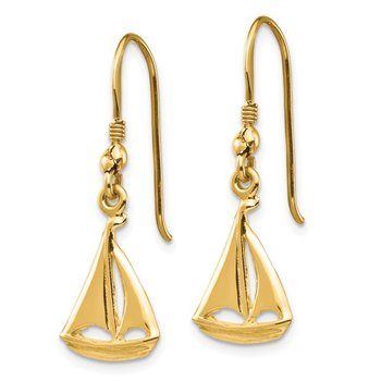 14K Sailboat Shepherd Hook Earrings