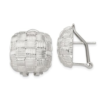 Sterling Silver Square Fancy Omega Back Earrings