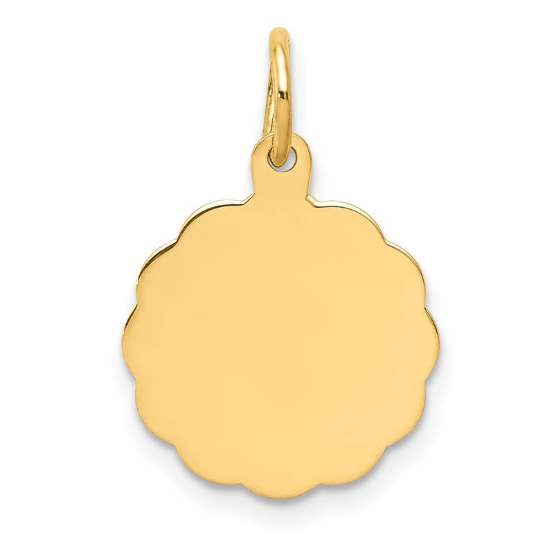 Quality Gold 14k .009 Gauge Engravable Scalloped Disc Charm
