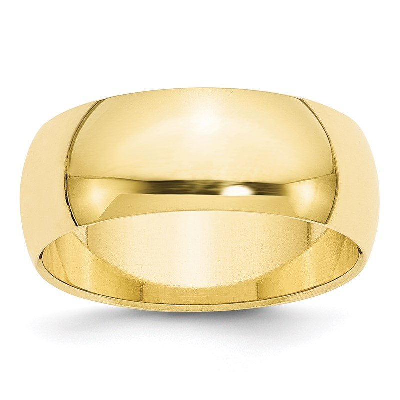 Quality Gold 10KY 8mm Half Round Band Size 10