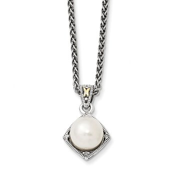 Sterling Silver w/14k FW Cultured Pearl & Diamond Necklace