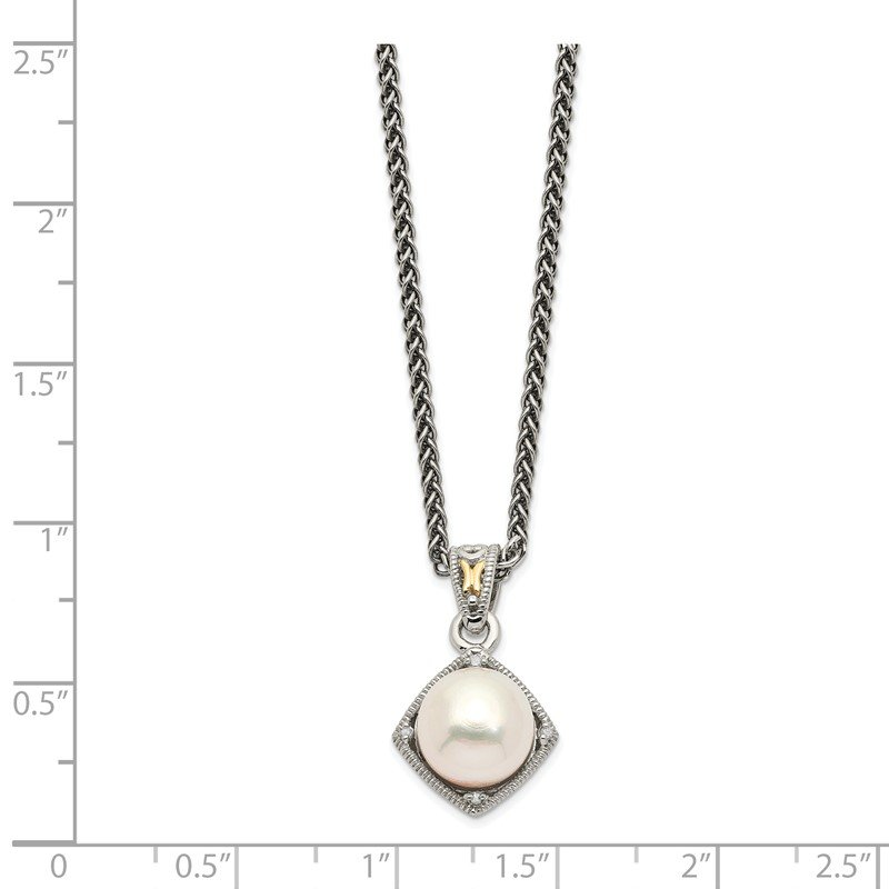 Shey Couture Sterling Silver w/14k FW Cultured Pearl & Diamond Necklace