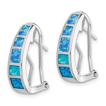 Sterling Silver Blue Inlay Created Opal Squares Hoop Earrings