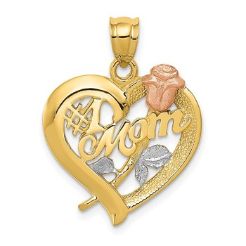 14k Two-Tone w/Rhodium Mom Charm