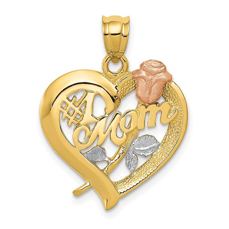 Quality Gold 14k Two-Tone w/Rhodium Mom Charm
