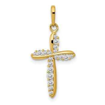 14k Polished CZ Cross Charm