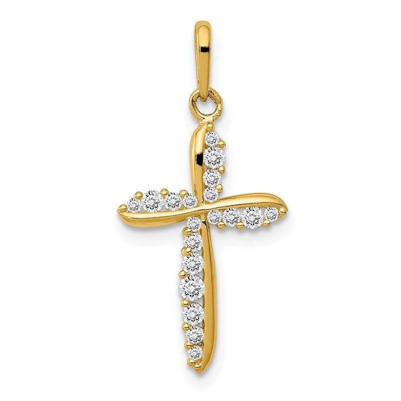 Quality Gold 14k Polished CZ Cross Charm