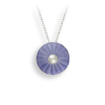 Purple Round Necklace.Sterling Silver-Freshwater Pearl