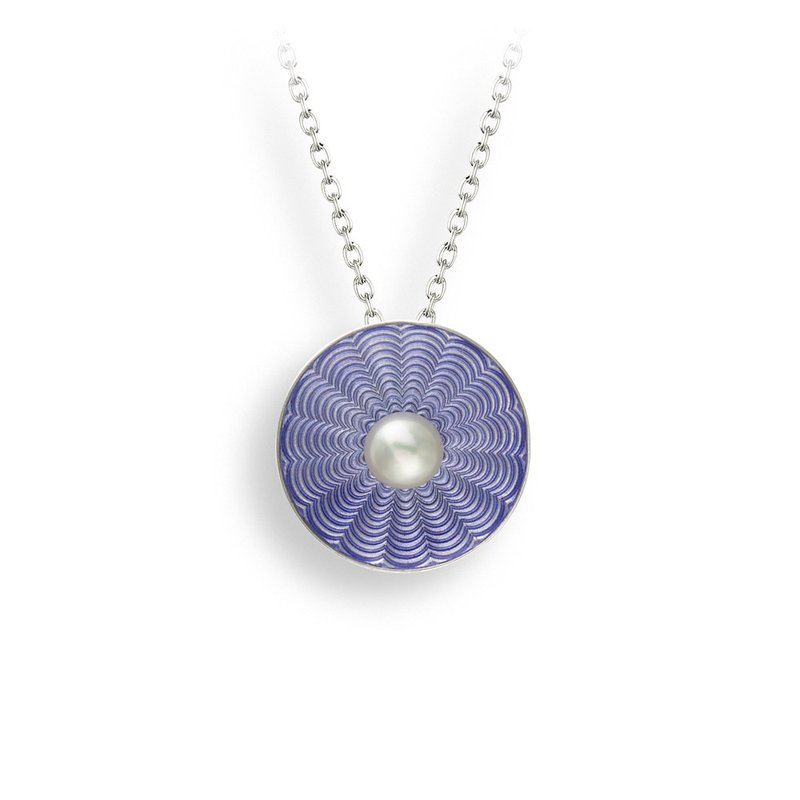 Nicole Barr Designs Purple Round Necklace.Sterling Silver-Freshwater Pearl