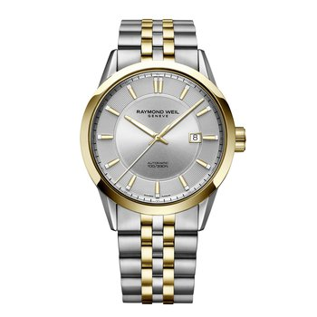 Men's Two-tone Automatic Date Watch, 42mm stainless steel, silver dial, yellow tone PVD