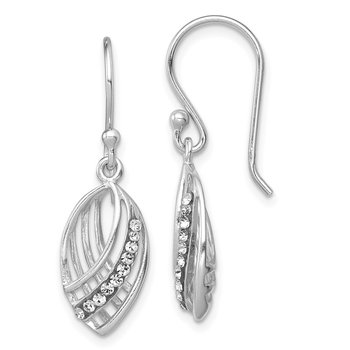 Sterling Silver Rhodium-plated Crystal Shepherd Hook Earrings