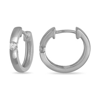 10K WG and diamond Hoops Solitaire earring 0.15 cts.