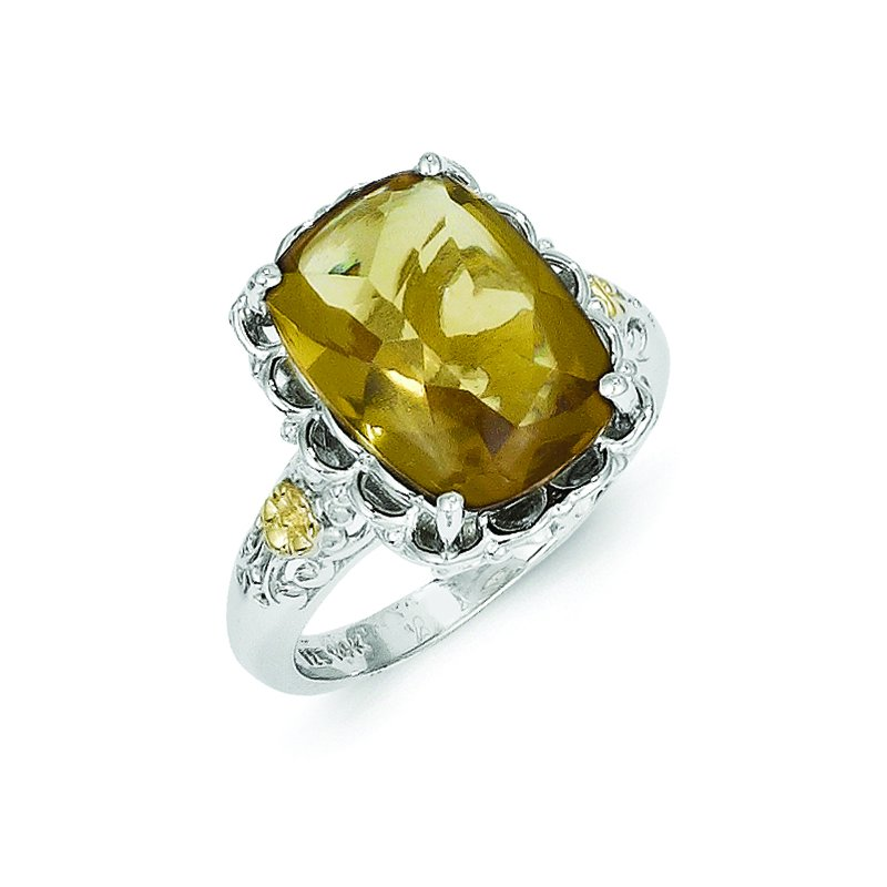 Shey Couture Sterling Silver w/14k Whiskey Quartz Ring