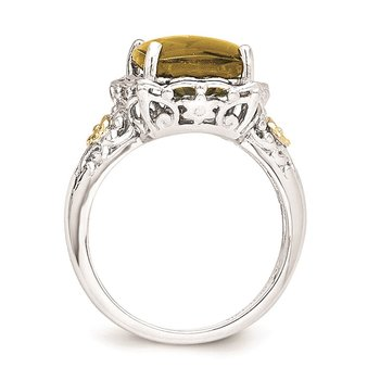 Sterling Silver w/14k Whiskey Quartz Ring